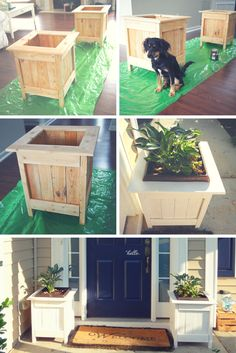 white diy planter boxes with pallet wood diy projects Diy Wood Projects, Outdoor Projects, Home Projects, Garden Projects, Wood Crafts, Simple Projects, Do It Yourself Projects, Diy Planter Box, Diy Planters