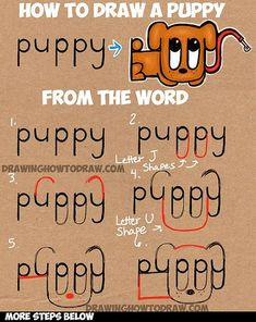 Learn How to Draw a Cartoon Puppy from the Word Puppy : Simple Step by Step Drawing Tutorial for Children