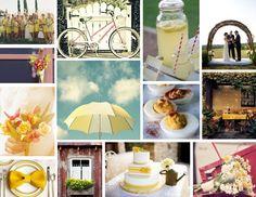 Vintage retro yellow wedding inspiration board
