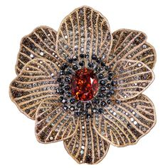 Alex Soldier Mandarin Garnet Diamond Gold Coronaria brooch, cuff, necklace, ring | From a unique collection of vintage brooches at https://www.1stdibs.com/jewelry/brooches/brooches/ #diamonds #GemstoneBrooches #brooch