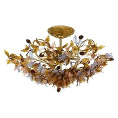 Have to have it. Crystorama Fiore Antique Gold Leaf Mount Light 400-GA - $650 @hayneedle