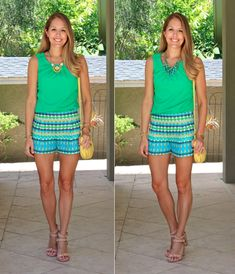 Loving this style of bright, patterned shorts...I feel like they are everywhere right now.