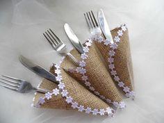 Porta cubiertos arpillera cubiertos boda rústica
