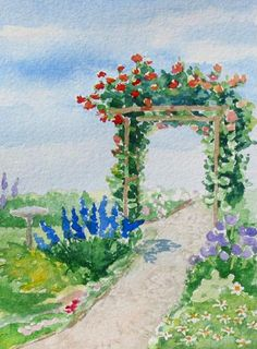 Flowering Pergola, an original watercolor painting of Maine by Beth Whitney