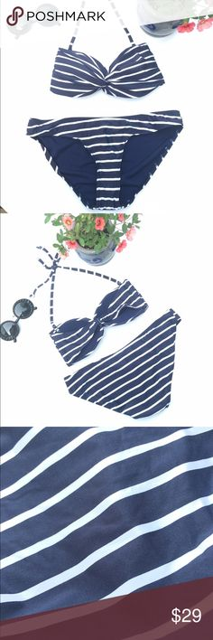 Navy and white striped bikini Gorgeous bikini with removable halter straps!!  Features a minimally padded cup and hygiene strip still attached. Perfect to wear with a pop of red at a 4th of July pool or beach party!!  1616 Atmosphere Swim Bikinis