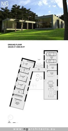 Moderne Villa Sand von NG Architekten entworfen - Benjamin - - Pin for you - Modern House Plans, Small House Plans, Modern House Design, House Floor Plans, Building A Container Home, Container House Plans, Container House Design, Container Pool, Shipping Container Swimming Pool