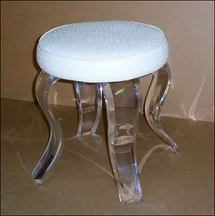 Round and Rectangular Vanity stools Acrylic Bench, Acrylic Chair, Acrylic Furniture, Lack Shelf, Luxury Chairs, Small Room Decor, Vanity Stool, Accent Chairs For Living Room, Chairs For Sale