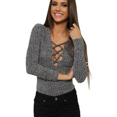 Autumn Fall Spring Long Sleeve Deep V-Neck Lace Up Rib Knitted T-shirts Tops For Women Casual Slim Tight Fit Tops Grey