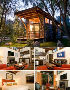 Wheelhaus cabins are a modern interpretation of manufactured park model homes, taking these small residences from blocky and uninspired to welcoming and visually interesting. This model, called the Wedge, has an angled roof that enables a line of narrow windows along the top of each wall to let in lots of natural light. The whole house can easily be placed on a truck trailer and hauled to a new location. It retails for about $75,000. / The Green Life <3