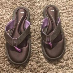Nike Comfort Flip Flops Only been worn once! Comfort footbed! Purple and brown! Nike Shoes Sandals