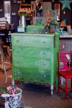 ombre green dresser by Patty Henning of Fabulous Finishes