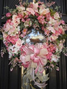 Spring Mother's Day Floral Door Wreath Butterfly Bird Easter Victorian Shabby by Bella Wreath Designs