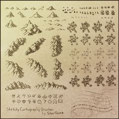 Sketchy Cartography Brushes by StarRaven http://starraven.deviantart.com/art/Sketchy-Cartography-Brushes-198264358  fine for non commercial use, contact owner for further licensing