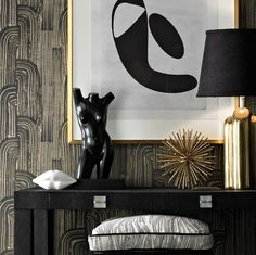 crescent - ebony/cream (GWP 3304-816) - Walnut Wallpaper - love this graphic, has a Art Deco feeling!