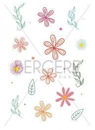 Planche pour customisation Florale, 21 x 30 cm, Bergère de France