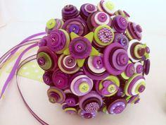 Button bouquet.     Alternative bouquets.    Purple button bouquet Nontraditional bouquet purple and by angel9, $98.00