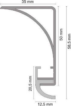Aluprofil für Deckenbeleuchtung - 50 mm hoch - Eloxiert oder Weiß - rund