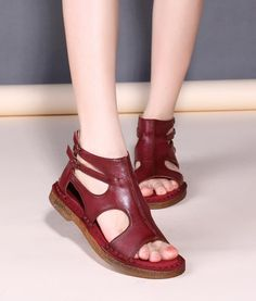 Women Sandals Genuine Leather Flat Shoes