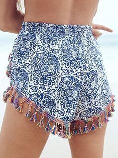 Summer Blue and White Porcelain Printed Elastic Waist Fringed Shorts