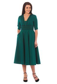 I <3 this Contrast trim banded empire stretch poplin dress from eShakti
