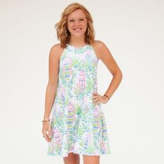 Ladies Custom Print White Lighthouse Lilian Dress