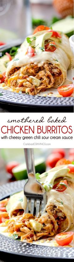 "Smothered Baked Chicken Burritos AKA ""skinny chimichangas"" are restaurant delicious without all the calories! made super easy by stuffing with the BEST slow cooker Mexican chicken and then baked to golden perfection and smothered in most incredible cheesy green chili sour cream sauce.::"