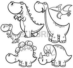 préhistoire: Vector illustration de personnages de dessins animés Dinosaures - Coloring Book