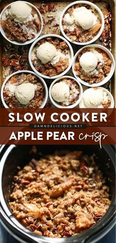 27 reviews · 4 hours · Vegetarian · Serves 8 · Another crockpot recipe to love! From the filling to the topping, this Apple Pear Crisp takes only 15 minutes of prep before throwing into the slow cooker. So easy! Enjoy this summer dessert with… Apple Crockpot Recipes, Crockpot Dessert Recipes, Slow Cooker Desserts, Healthy Dessert Recipes, Slow Cooker Recipes, Low Carb Recipes, Simple Recipes, Summer Recipes, Appetizer Recipes
