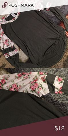 Cute olive high low top with pink floral. Olive high low top with pink floral. Size medium. Never worn. Sweet Claire Tops