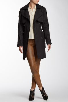 $89, Black Trenchcoat: BCBGeneration Draped Trench Coat. Sold by Nordstrom Rack. Click for more info: https://lookastic.com/women/shop_items/237810/redirect