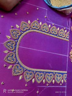 Black Blouse Designs, Best Blouse Designs, Hand Work Blouse Design, Bridal Blouse Designs, Tambour Embroidery, Hand Work Embroidery, Zardosi Work Blouse, Buddha Drawing, Blouse Desings