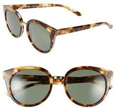 Women's Tory Burch 53mm Polarized Retro Sunglasses - Light Tortoise/ Polar #sunglasses #womens #summer