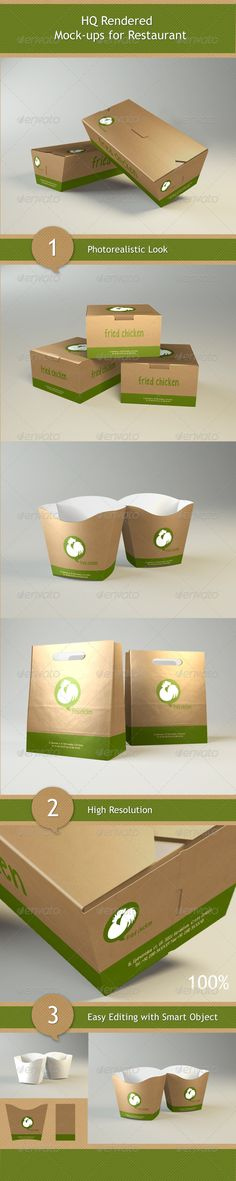 Mock-ups for Restaurant  #GraphicRiver         Create realistic Food Boxes Bundle Mock-ups for your client in few seconds. You just need to double-click the Smart-Object, paste your artwork, save, and you're done.  Specifications:   Easy to put in your own design ( based on smart objects )  4 full layerd PSD Stands  PSD Size: 2000×1500px  Quick Guide  aish design     Created: 15August12 GraphicsFilesIncluded: PhotoshopPSD Layered: Yes MinimumAdobeCSVersion: CS4 PixelDimensions: 2000x1500