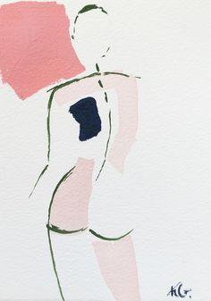 art inspo Mini Nude XLVII by artist Kristen G - art Art Inspo, Kunst Inspo, Painting Inspiration, Art And Illustration, Figurative Kunst, Art Design, Painting & Drawing, Line Art, Watercolor Art