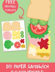 Encourage dramatic play in your kids! Learn how to make a paper sandwich with our free printable template and a simple DIY tutorial! Easy and fun dramatic play activity for toddlers, preschoolers, and older kids. #yeswemadethis #pretendplay #dramaticplay #playfood #papertoys  Summer Camp Activities, Kids Learning Activities, Toddler Activities, Free Printable Numbers, Templates Printable Free, Printables, Play Activity, Dramatic Play Centers, How To Make Sandwich