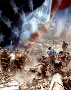 September 11th Collage. 9/11 Rescue workers following the collapse of #WorldTradeCenter Twin Towers (Two of the 4 Targets of #911) Remembering and Honoring the Heroes of 9-11-2001 9-11 #NeverForget #911 #Remembering911 9/11/2001