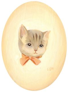 Cat portrait by Emily Winfield Martin - Acrylic on wooden oval plaque