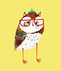hipster owl by Ashley Percival    http://www.etsy.com/shop/AshleyPercival?ref=pr_shop_more