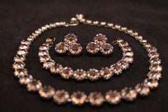 S A L E Nice Weiss PARURE Smoky Rhinestones Necklace, Bracelet, Earrings Set (Vintage, Stylish, Wedding) Free Shipping, Free Gift Box by JaguarIsle on Etsy, $65.00