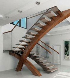 I am loving these very sculputal stairs Modern glass stairs, glass balustrade, modern stairs, custom design Interior Stairs, Home Interior Design, Interior Architecture, Diy Interior, Stairs Architecture, Interior Modern, Amazing Architecture, Rustic Stairs, Wood Stairs