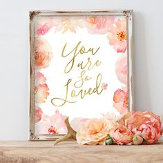 Floral Nursery Decor You Are So Loved Flower Print by AdorenStudio