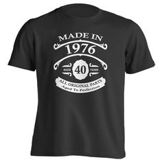 40th Birthday Gift T-Shirt - Born In 1976 - Vintage Aged 40 Years To Perfection - Short Sleeve - Mens - Black - X-Large T Shirt - (2016 Version)