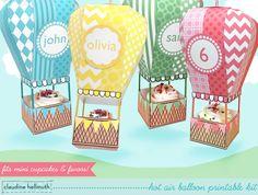 make a hot air balloon party favor box - holds mini cupcakes too!