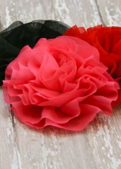 """This elegant fabric flower is ready for your next crafting project. Soft waves of chiffon fabric form a large vintage style flower about 4"""""""" across. Ready to attach to headbands, hats, hairclips, and"""