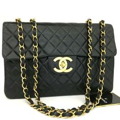 831a270cd869c7 CHANEL Maxi Jumbo 34 Quilted Matelasse XL Lambskin w/Chain Shoulder Bag  /p422 Chanel