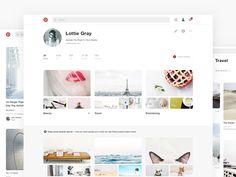 Pinterest Redesign by Emily Berg  https://dribbble.com/shots/3002894-Pinterest-Redesign