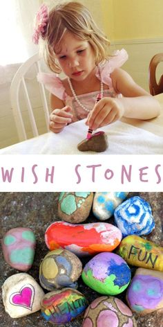 A cute and colorful way to make wishes for the new year! Preschoolers and Kindergartners can make these colorful wishing stones to display their hopes for the coming year!