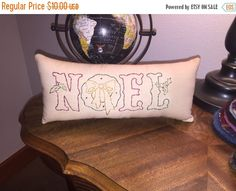 Primitive Christmas Noel Wreath  Embroidery Stitchery Pillow
