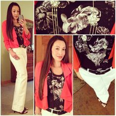 Black, White & Coral! White pants: Banana Republic, Floral Top, Crystal necklace & Heels: Prabal Gurung for Target, Coral Blazer: Forever21