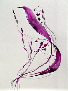 Original Abstract Watercolor Painting - LanasArt - Color Me Pretty Magenta.  - SOLD